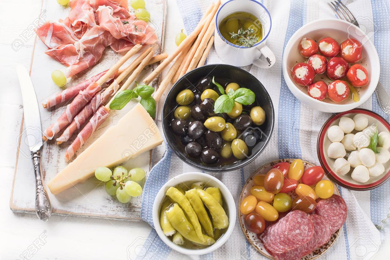 Typical Italian Antipasto Mixed Antipasto Platter Traditional Stock Photo Picture And Royalty Free Image Image 97960994