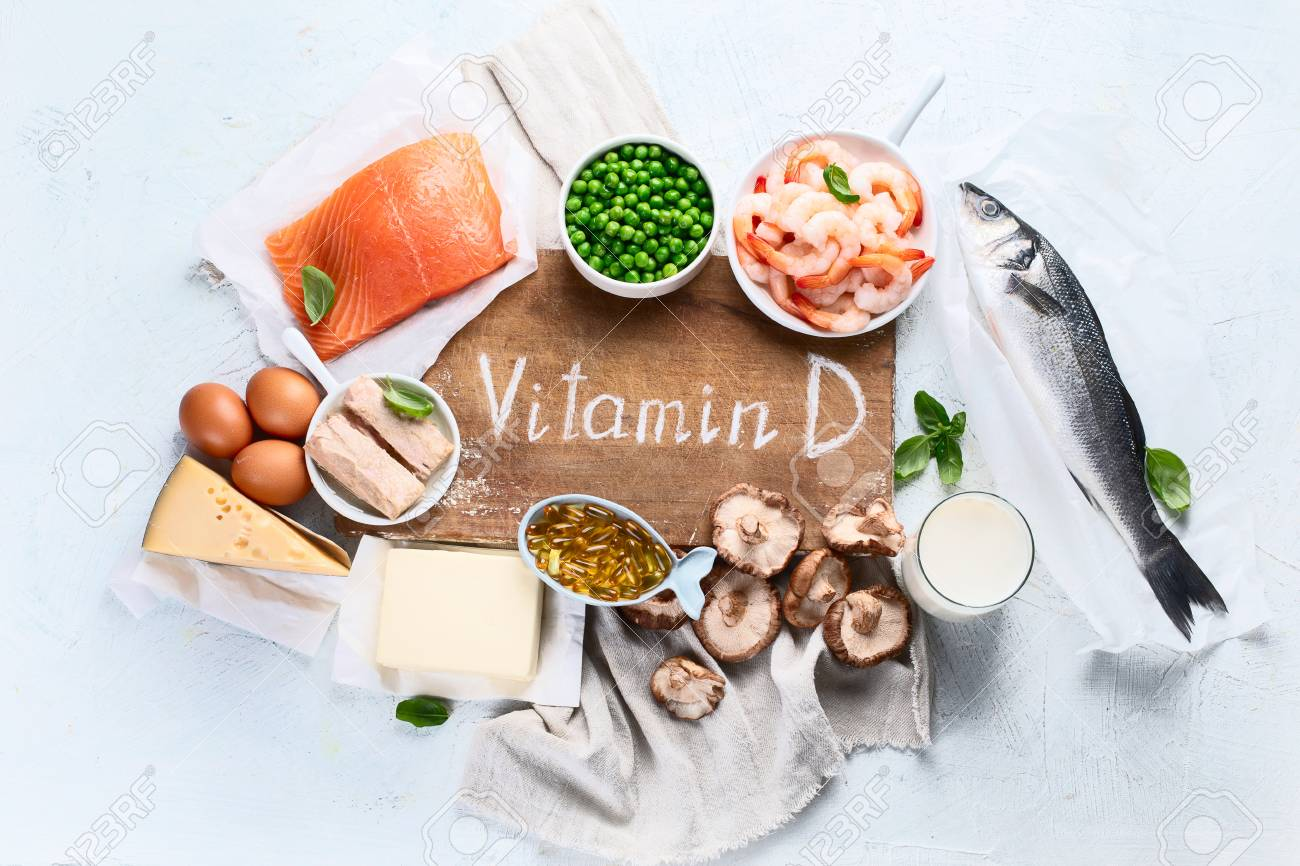 Foods rich in natural vitamin D. Balanced diet nutritio. Healthy eating concept. Top view - 122314585