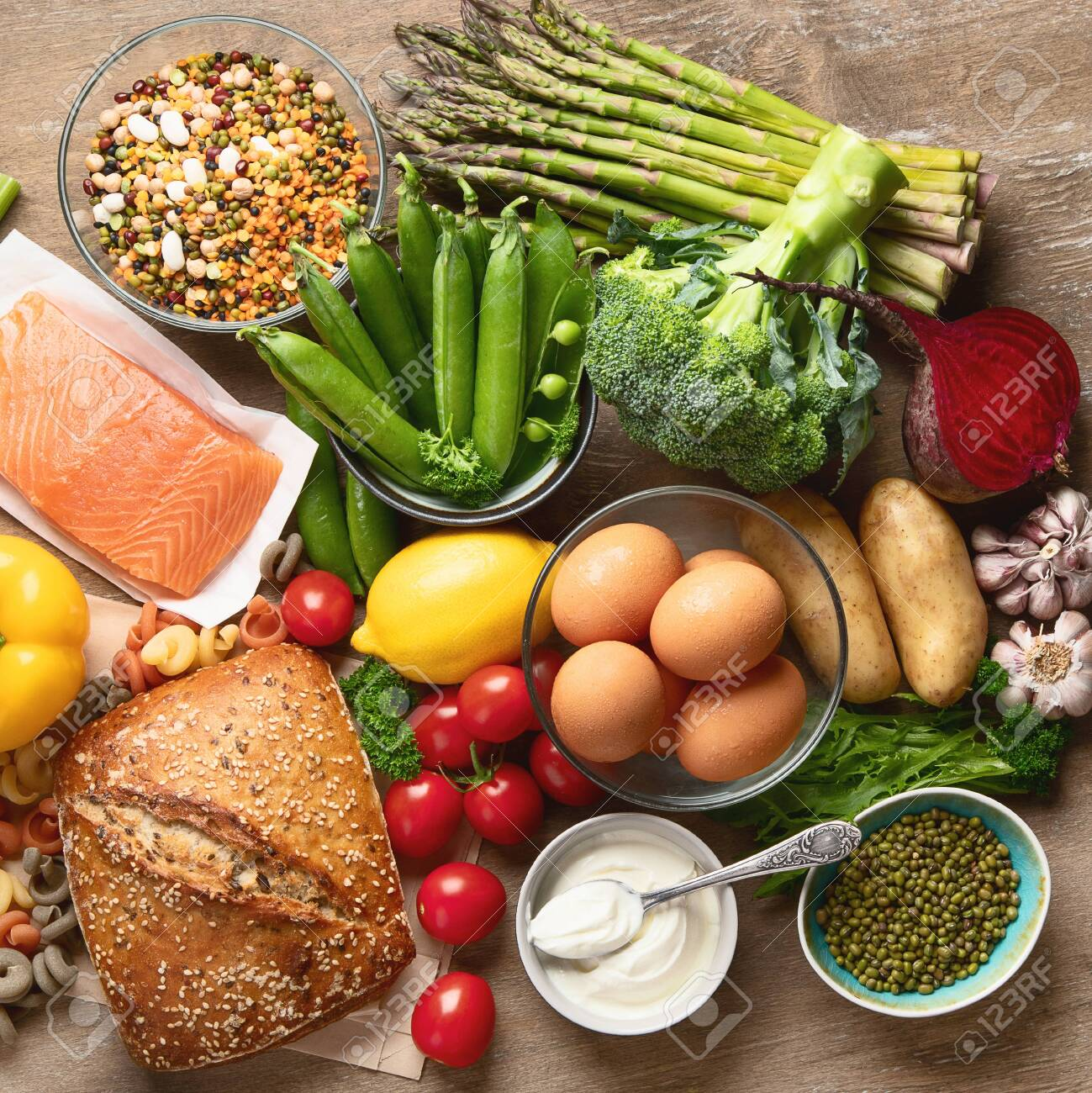 Healthy Food Balanced Food Cooking Ingredients Clean Diet Eating Stock Photo Picture And Royalty Free Image Image 128183106