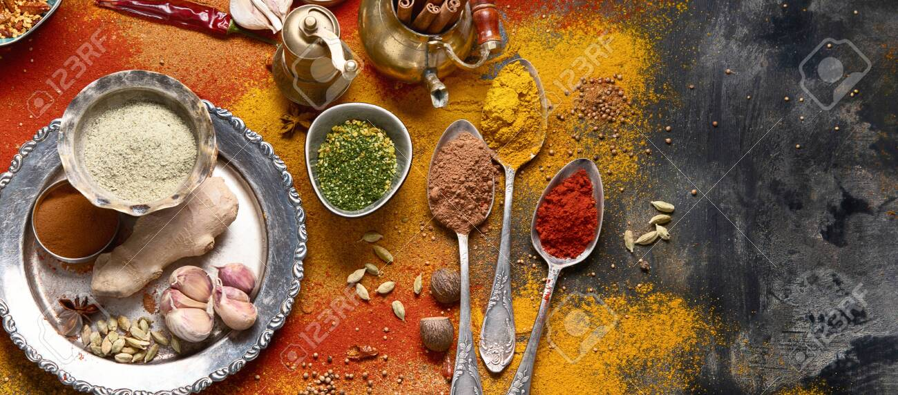 Colorful Spices For Cooking Indian Spices Background Top View Stock Photo Picture And Royalty Free Image Image 129850216