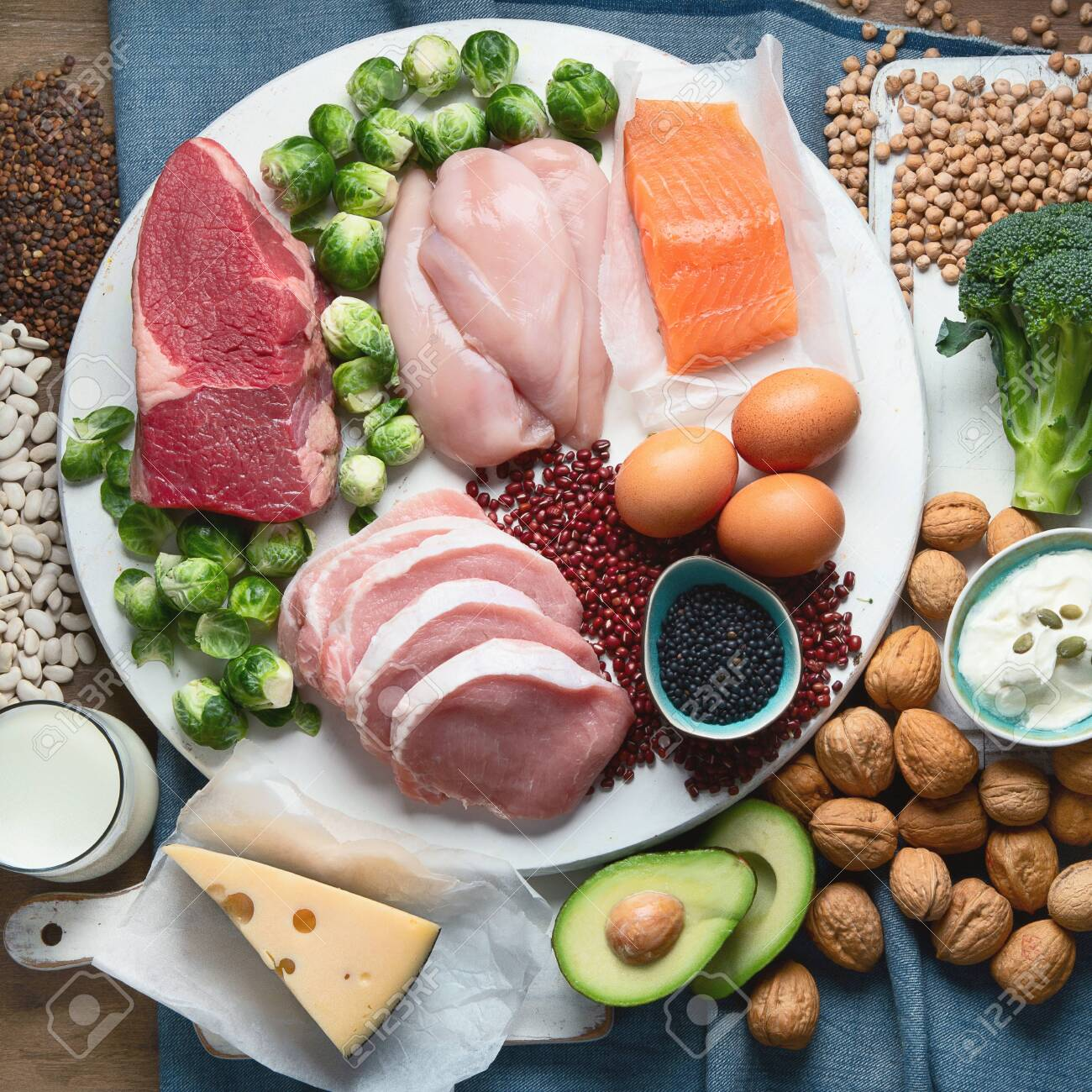 Best High Protein Foods Healthy Eating Concept Health And Body Stock Photo Picture And Royalty Free Image Image 129850236