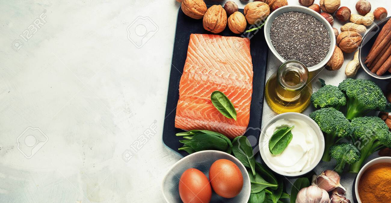 Healthy organic food for Diabetes diet. Cholesterol diet, food high in antioxidants, vitamins and minerals. Top view with copy space - 132011745