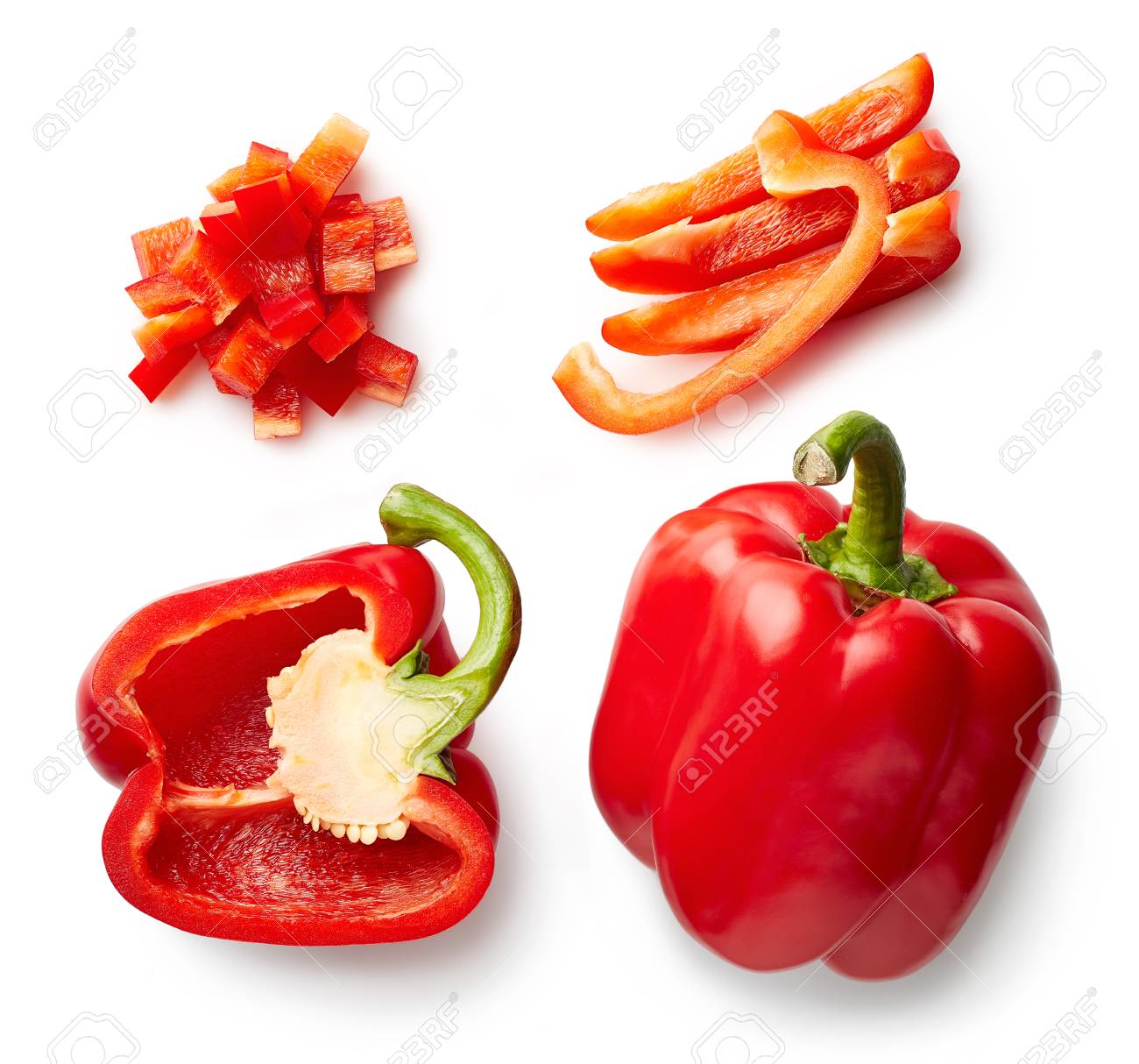 Sweet red pepper isolated on white background. Top view. Half and slices - 94279375