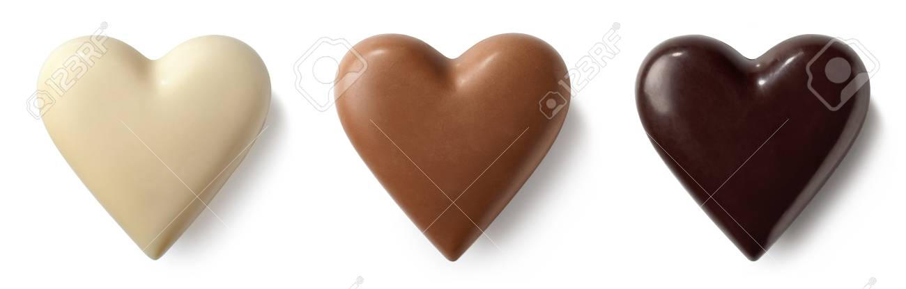 Three chocolate (milk, dark and white) hearts isolated on white background. Top view - 96570154