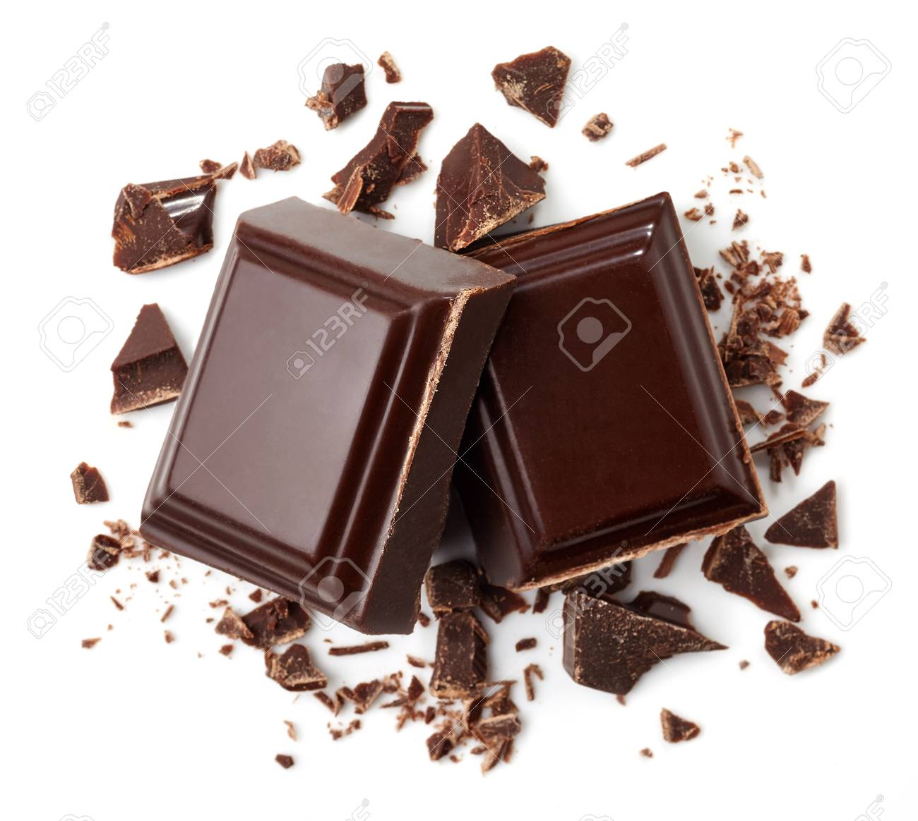 Two pieces of dark chocolate isolated on white background. Top view - 96628335