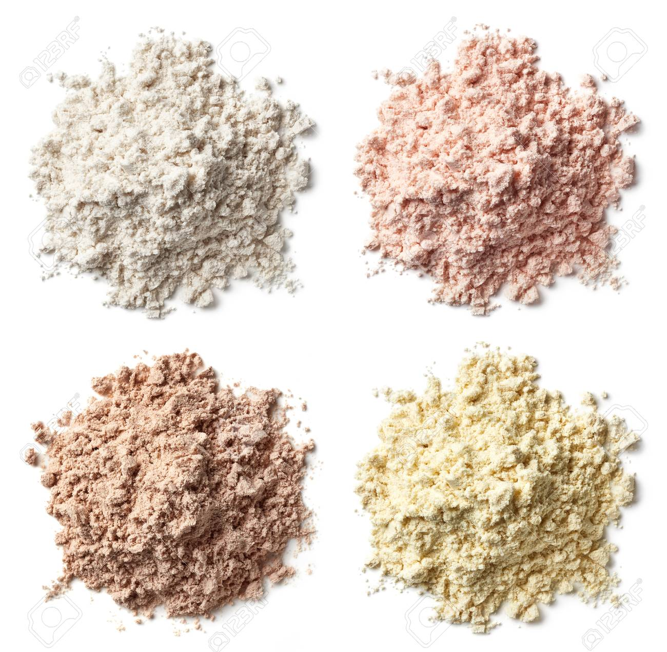 Four various heaps of protein powder (vanilla, strawberry, chocolate, banana) isolated on white background. Top view - 105042002