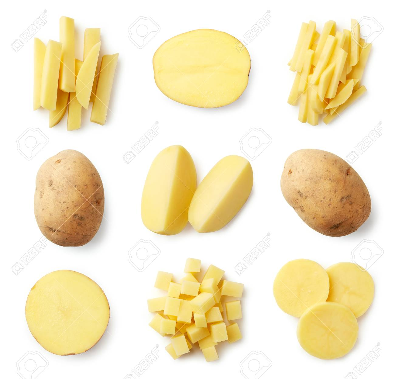 Set of fresh whole and sliced potatoes isolated on white background. Top view - 110914550