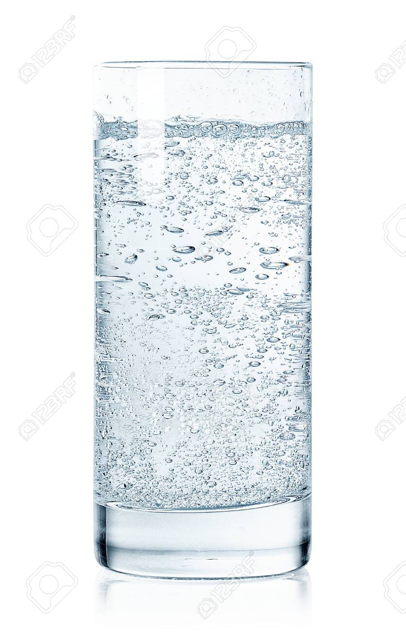 Glass of cold sparkling water isolated on white background - 126016037