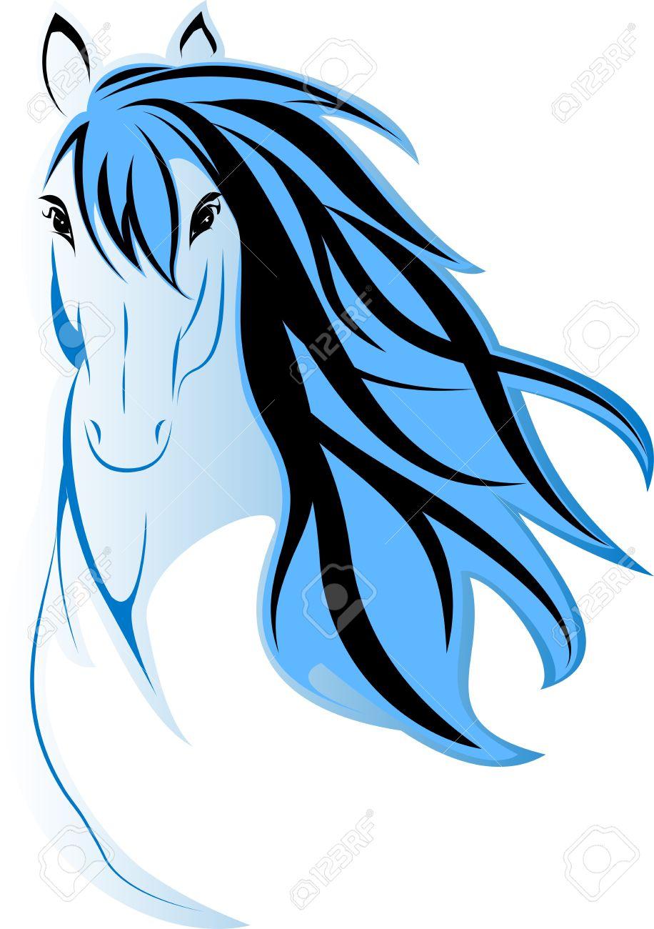 Dessiner Une Image De La Tête De Cheval Bleu