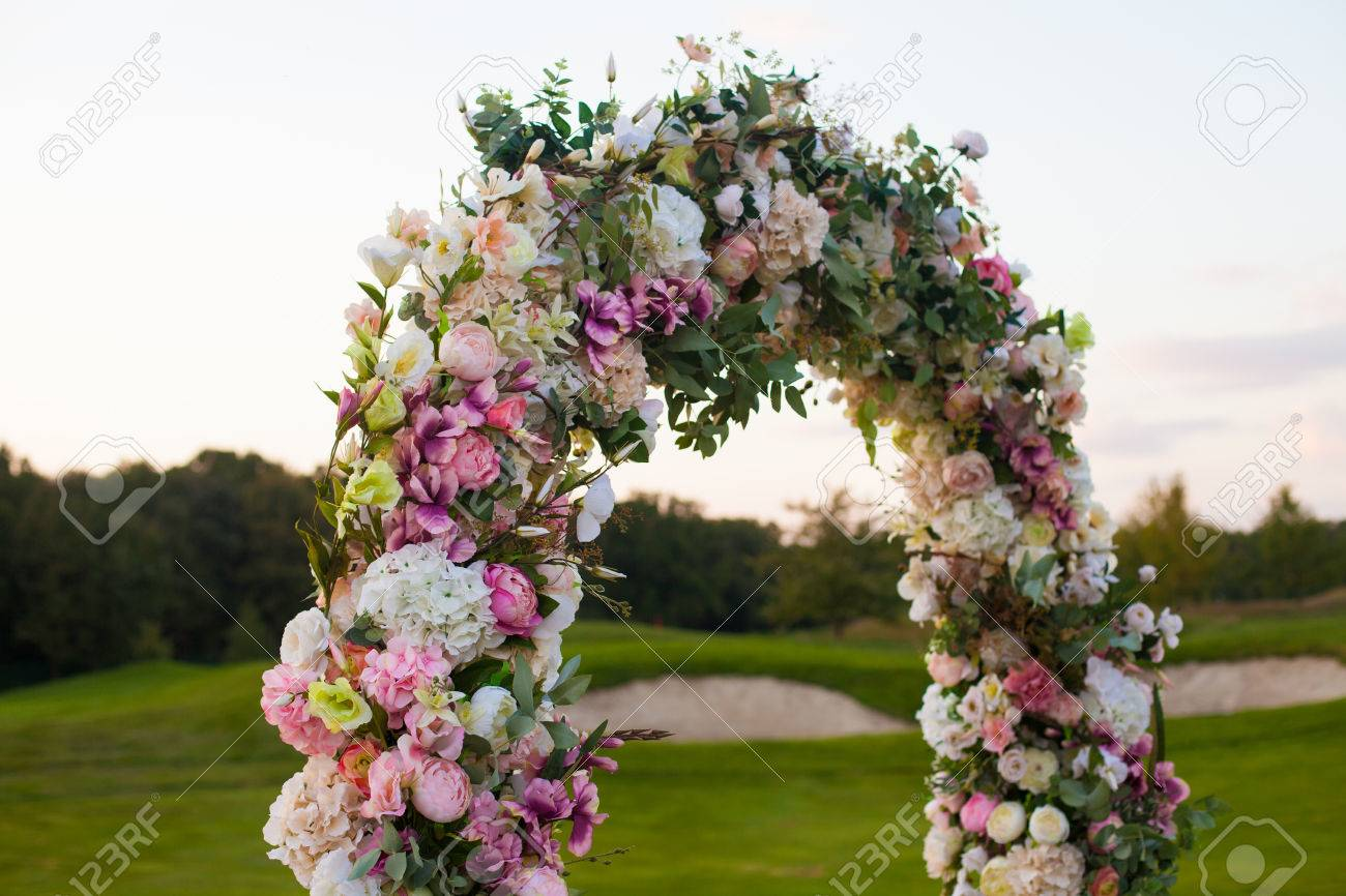 Beautiful Floral Arch With Lots Of Small Pink Purple And White