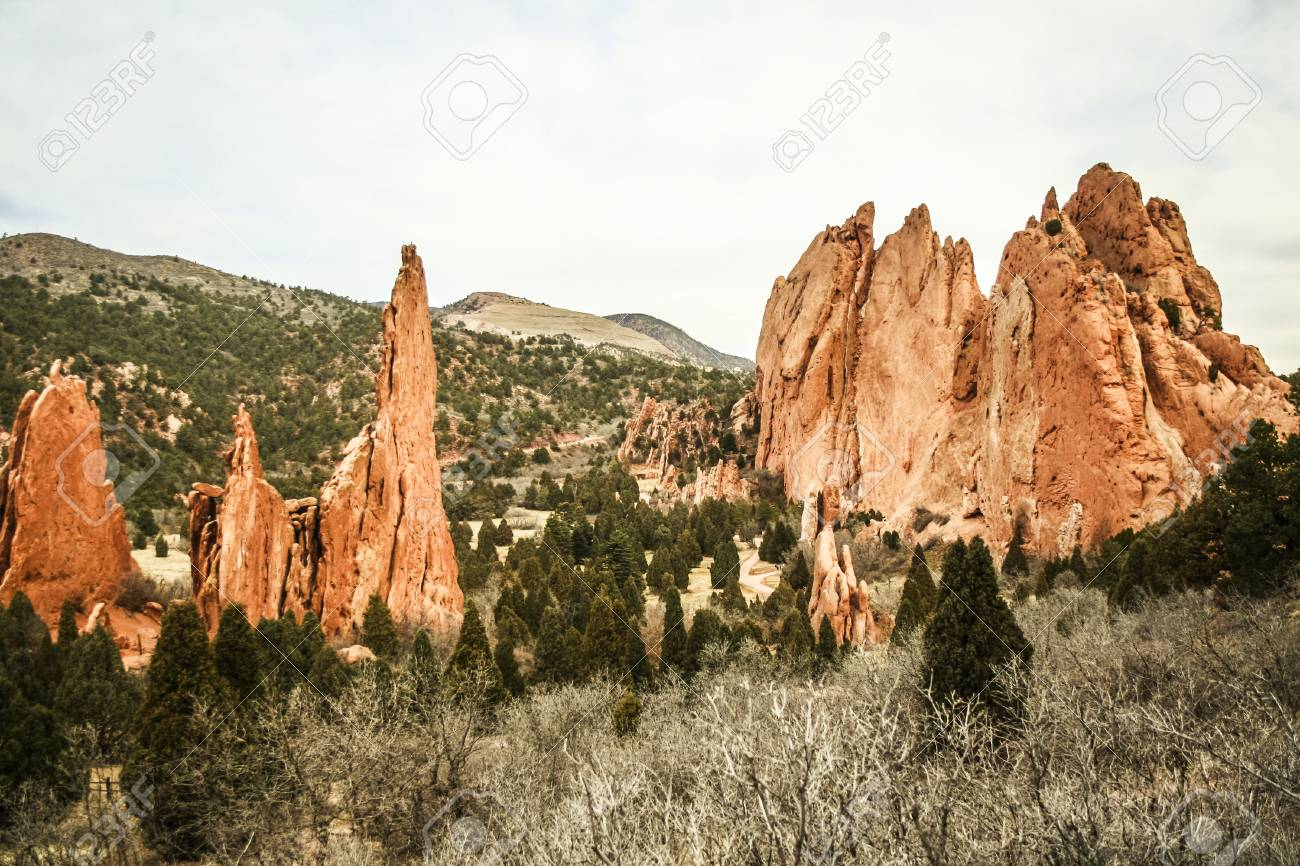 Garden Of The Gods, A Park With Special Rock Formations Near.. Stock ...