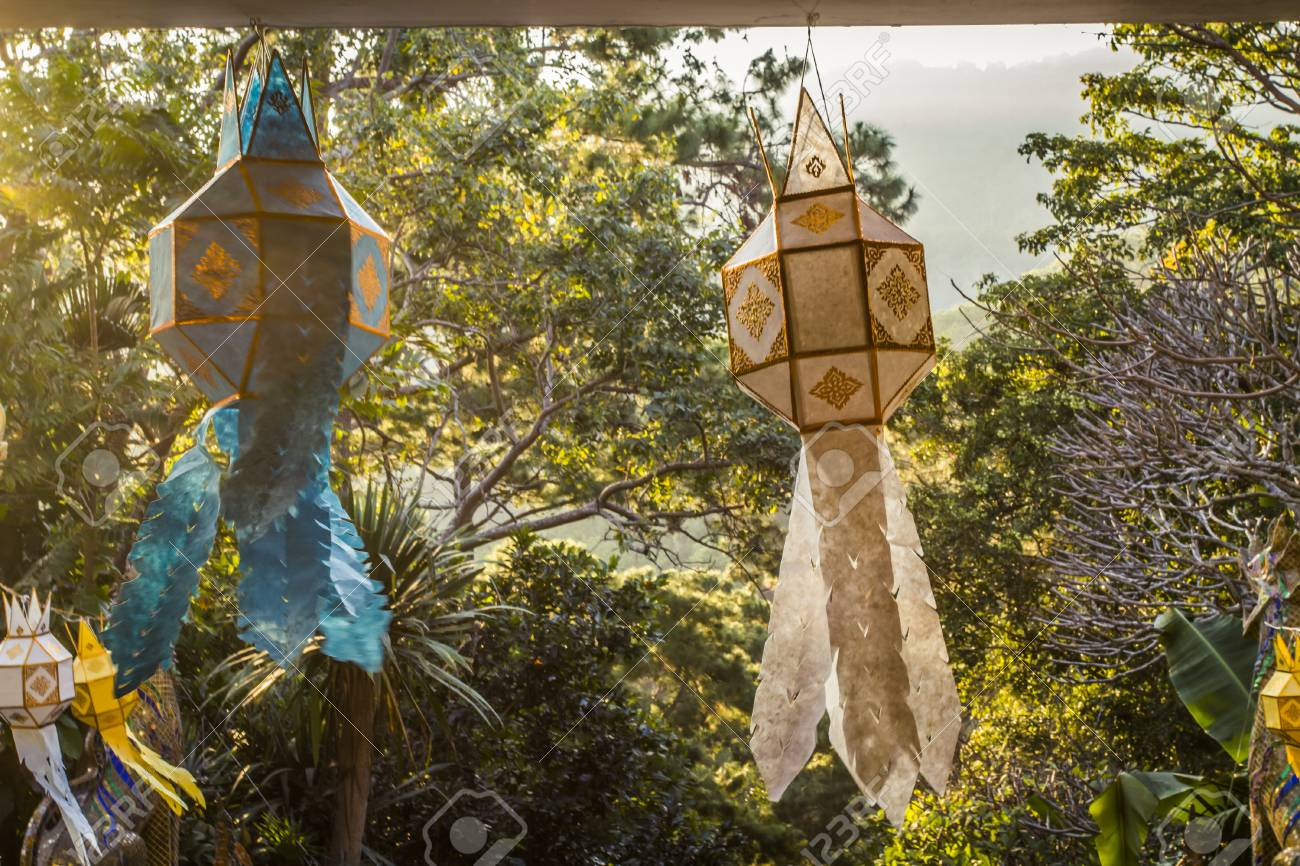 Thai Lanterns Made From Paper, Hanging From A Temple Entrance Stock ...