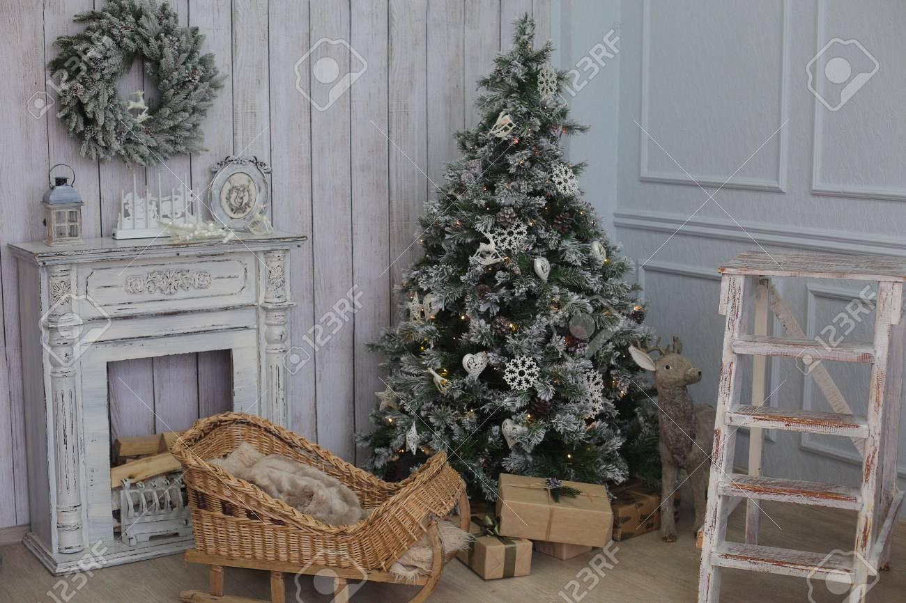 Christmas Room Interior Decorations In Studio Stock Photo, Picture ...