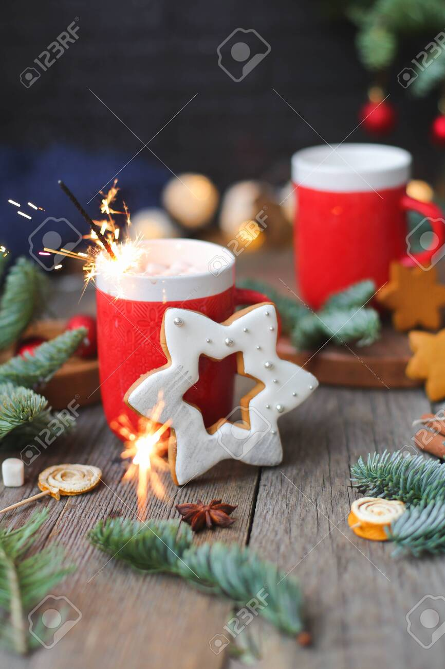 Christmas Mug With Hot Cocoa Sparkling Bengal Fire Work Lights Stock Photo Picture And Royalty Free Image Image 137048010