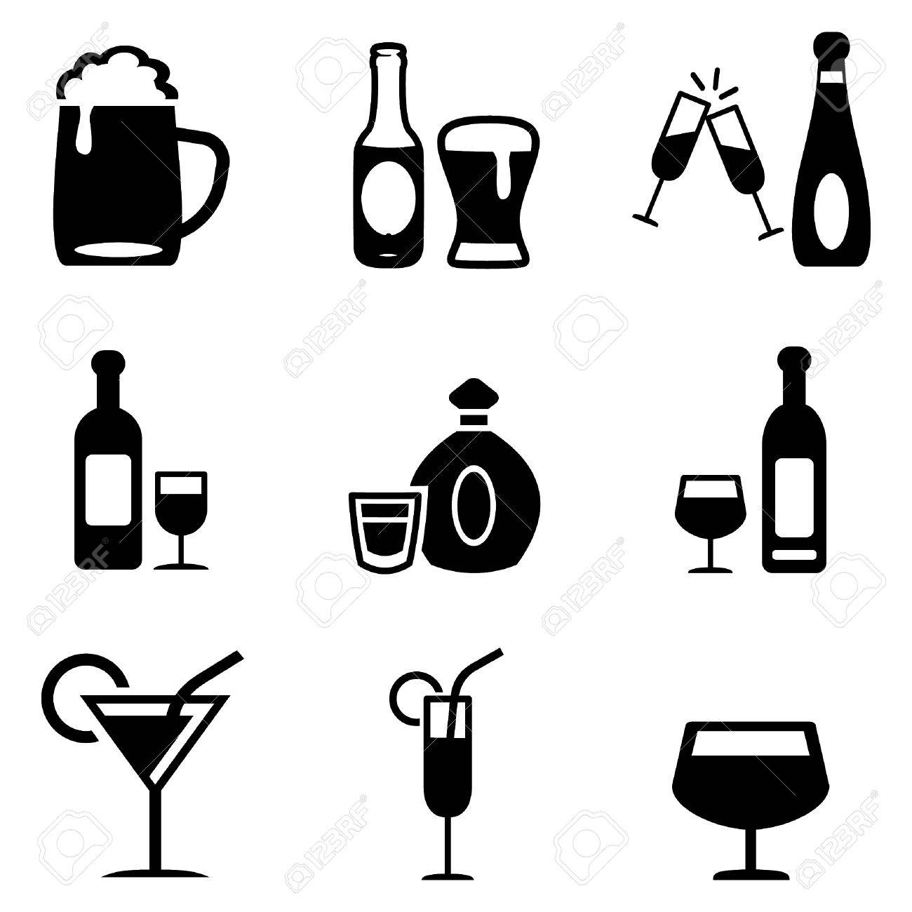 Alcoholic Drinks Icons - 47121117