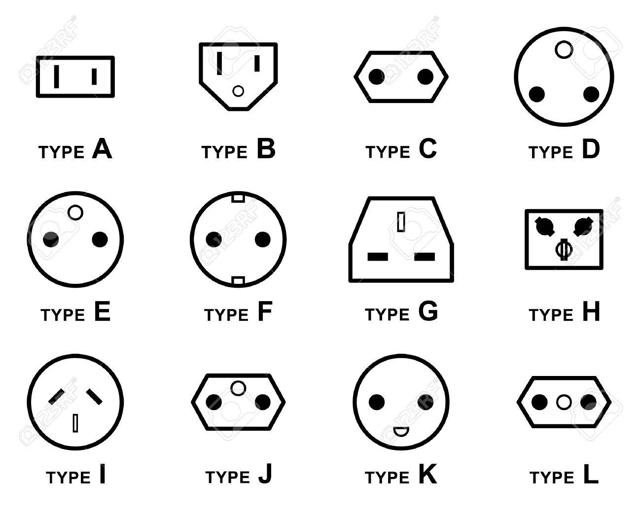 electrical plug types royalty free cliparts vectors and stock