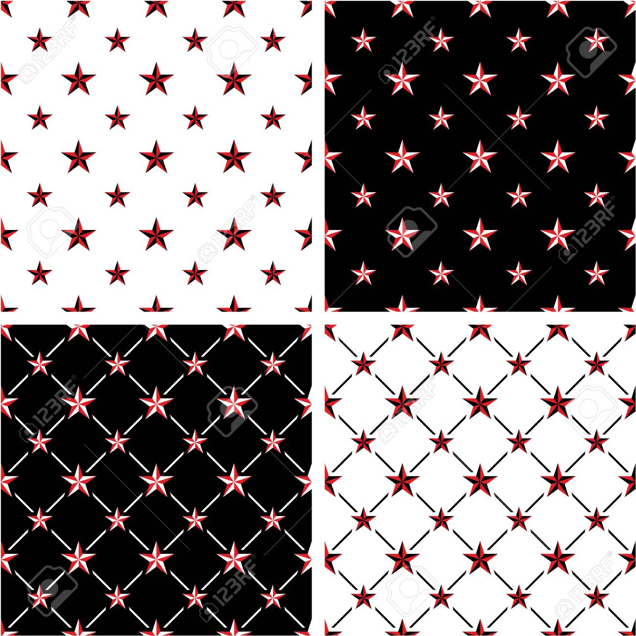 Red Black Color Nautical Star Big Small Seamless Pattern