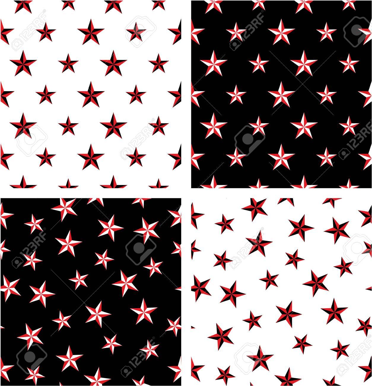 Red Black Color Nautical Star Big Small Aligned Random