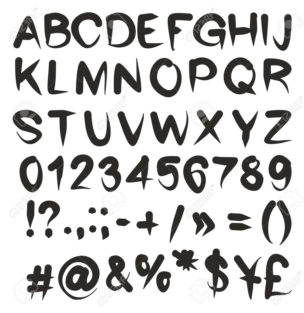 Freehand Artist Flow Vector Font With Capital Letters Numbers