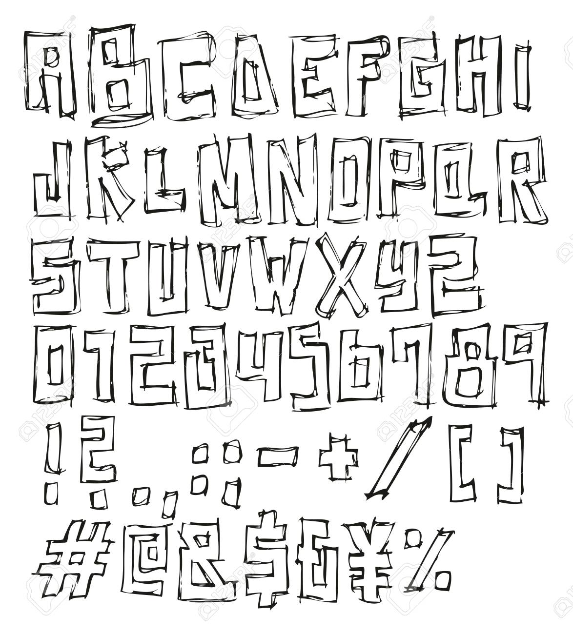 Thin Pen Doodle Block Vector Font With Uppercase Letters Numbers