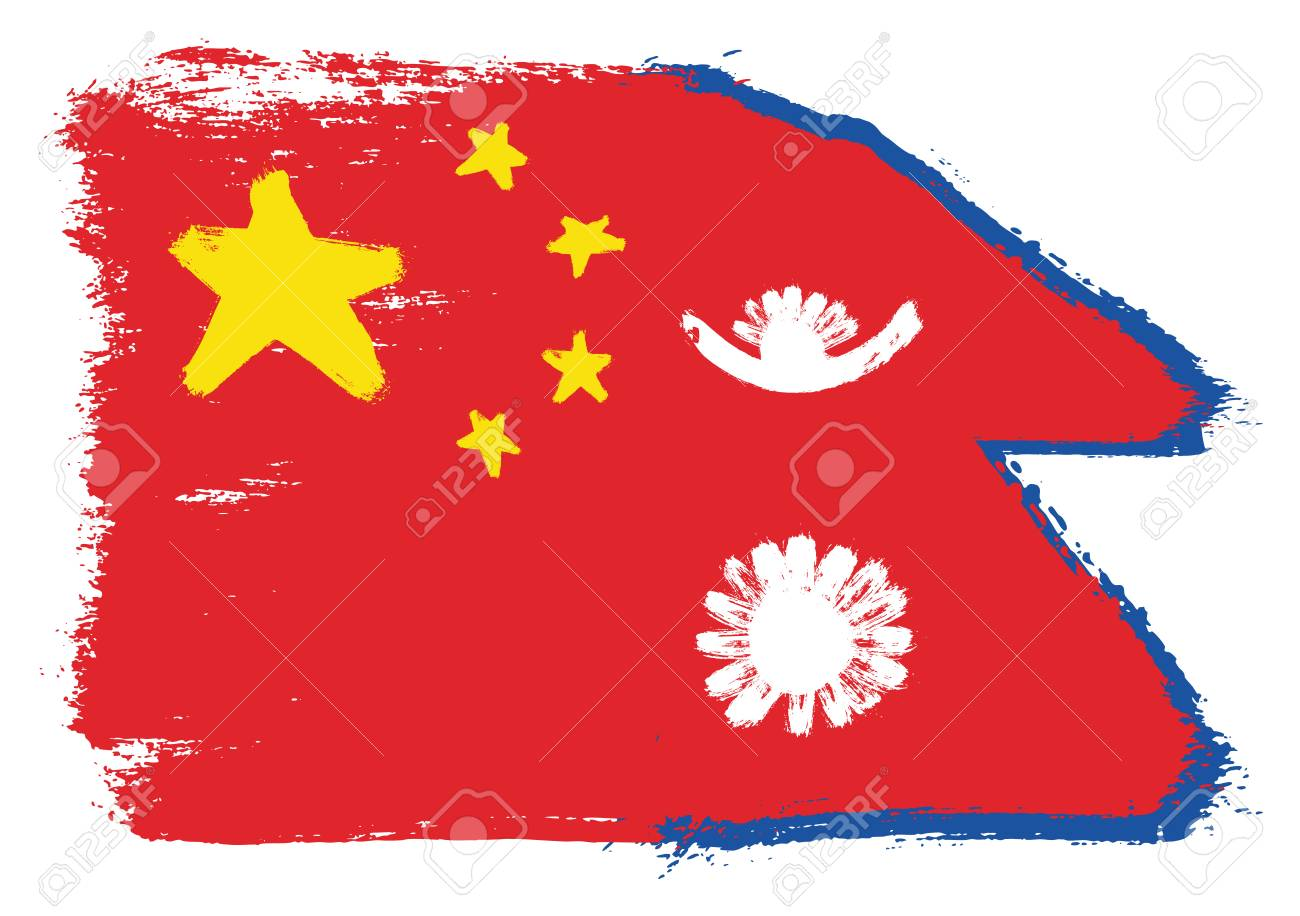 China Flag & Nepal Flag Vector Hand Painted with Rounded Brush