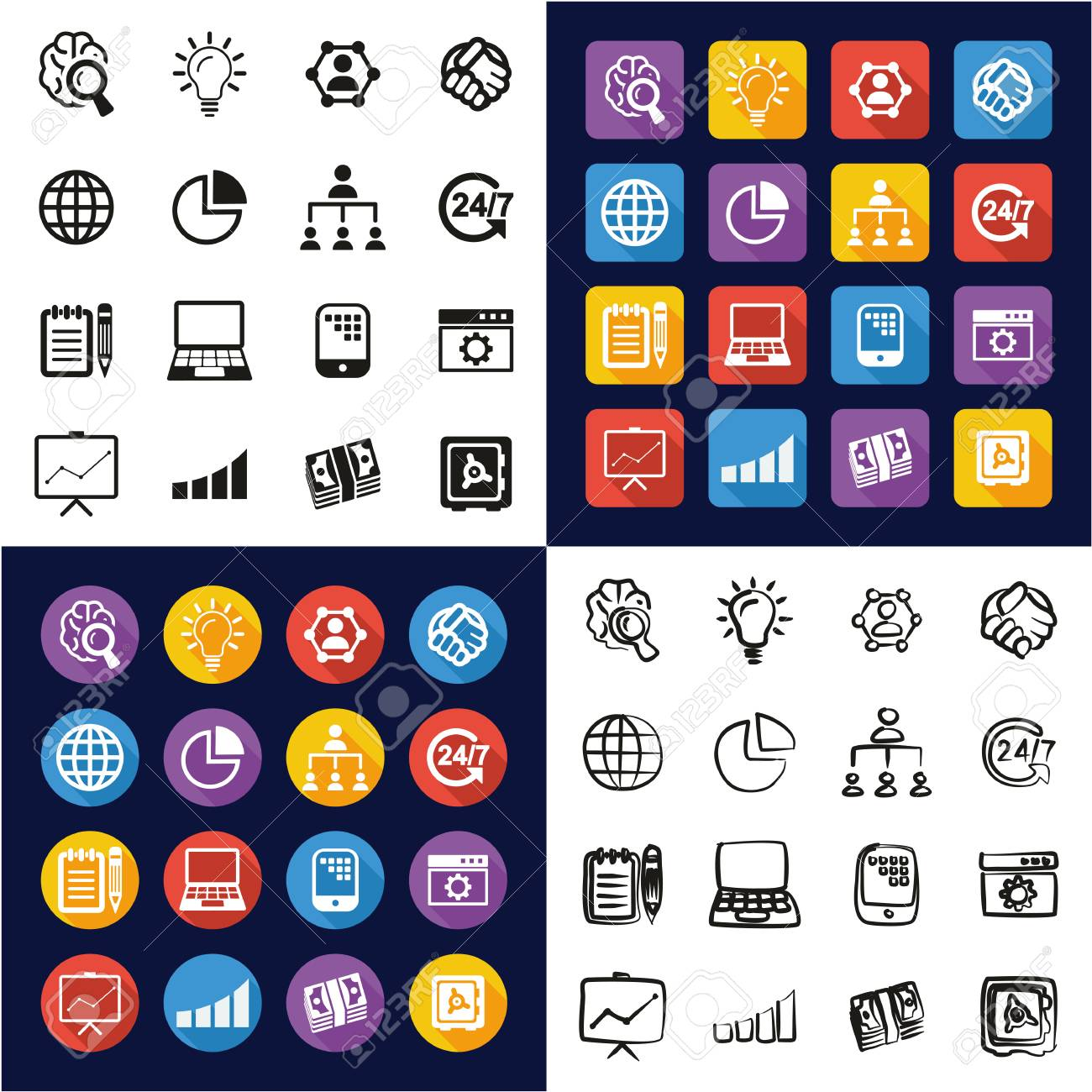 Business Enterprise Icons All in One Icons Black and White Color