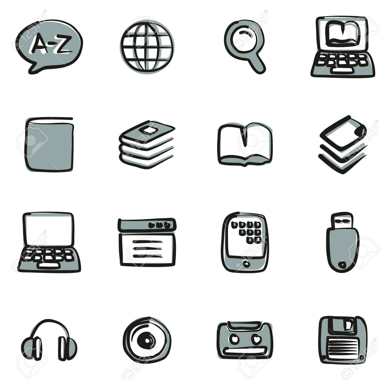 Dictionary or Glossary Icons Freehand 2 Color - 119288188