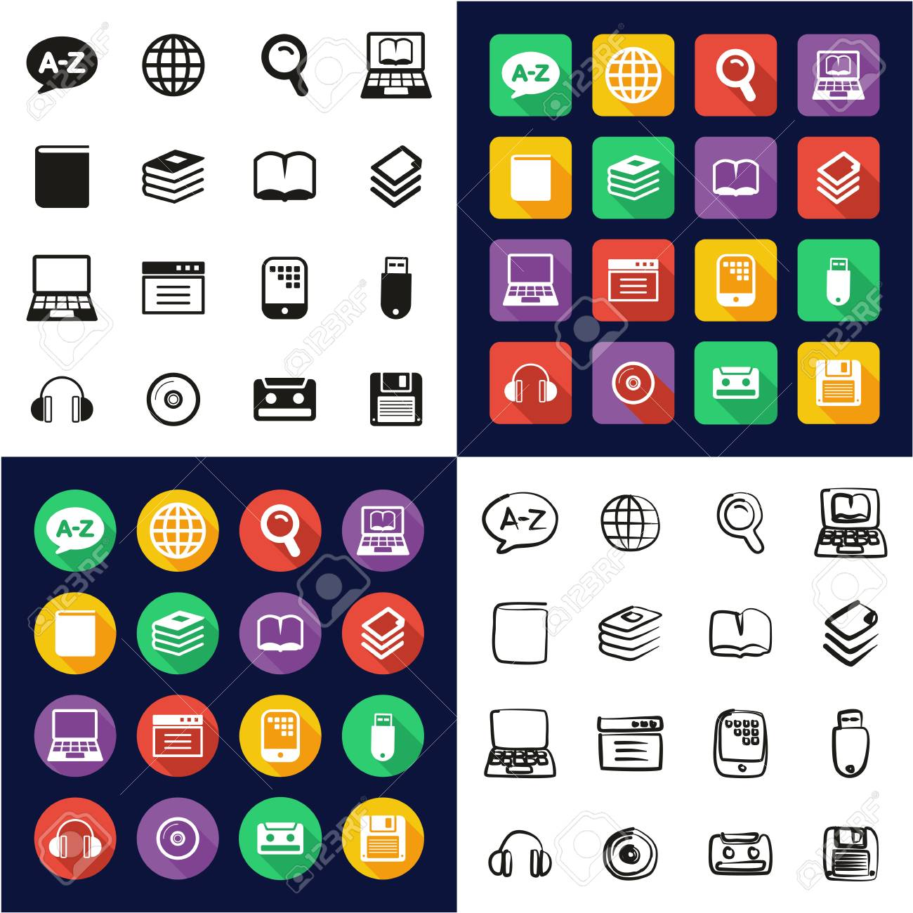 Dictionary or Glossary Icons All in One Icons Black and White Color Flat Design Freehand Set - 119288143