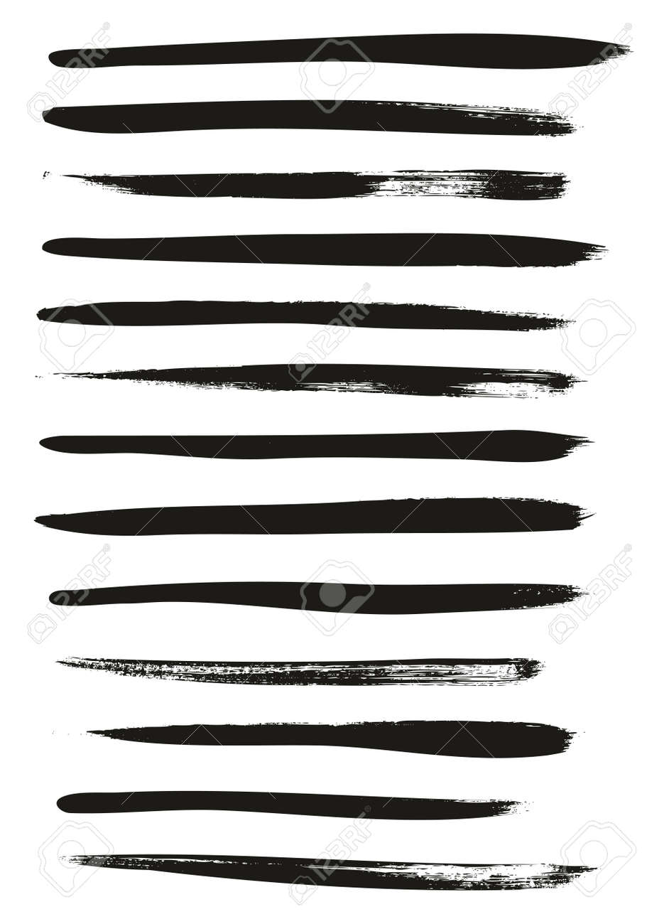 Calligraphy Paint Thin Brush Lines High Detail Abstract Vector Background - 125625760