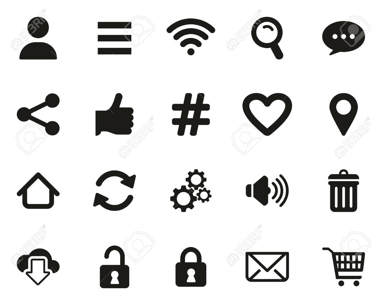 App Menu Icons Black & White Set Big - 137412169