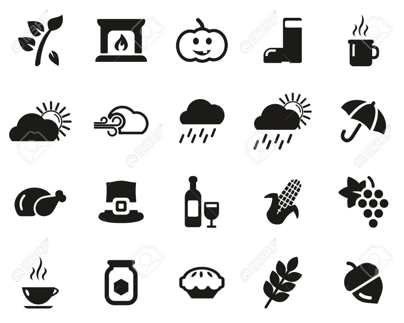 Autumn Or Fall Icons Black & White Set Big - 136806781