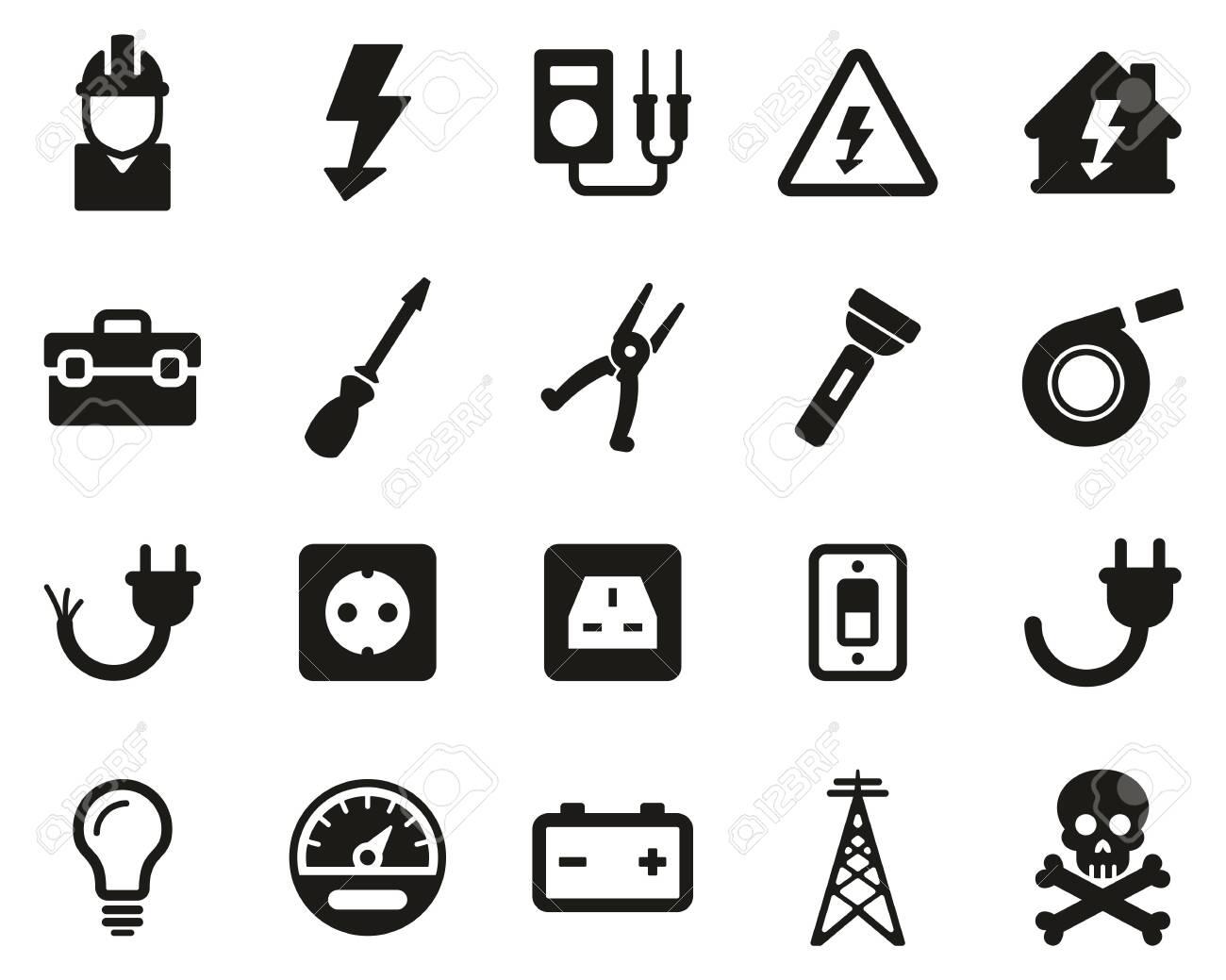 Electrician Tools & Equipment Icons Black & White Set Big - 138085864
