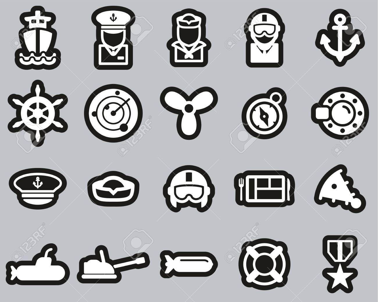 Navy Icons White On White Sticker Set Big - 138785698