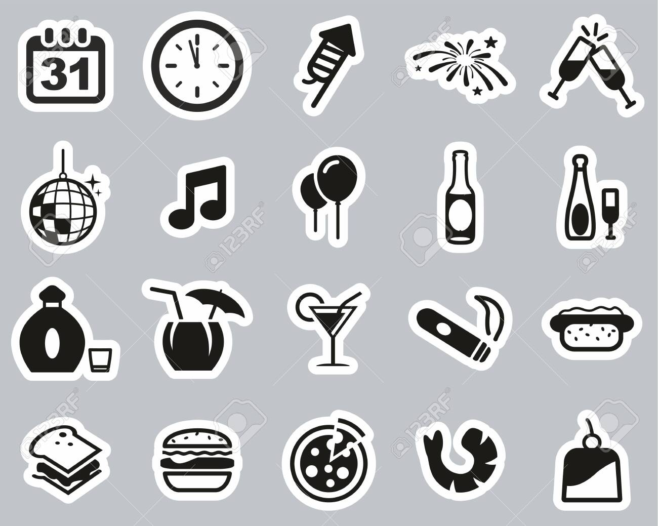 New Years Eve Or New Years Party Icons Black White Sticker Royalty Free Cliparts Vectors And Stock Illustration Image 138785705