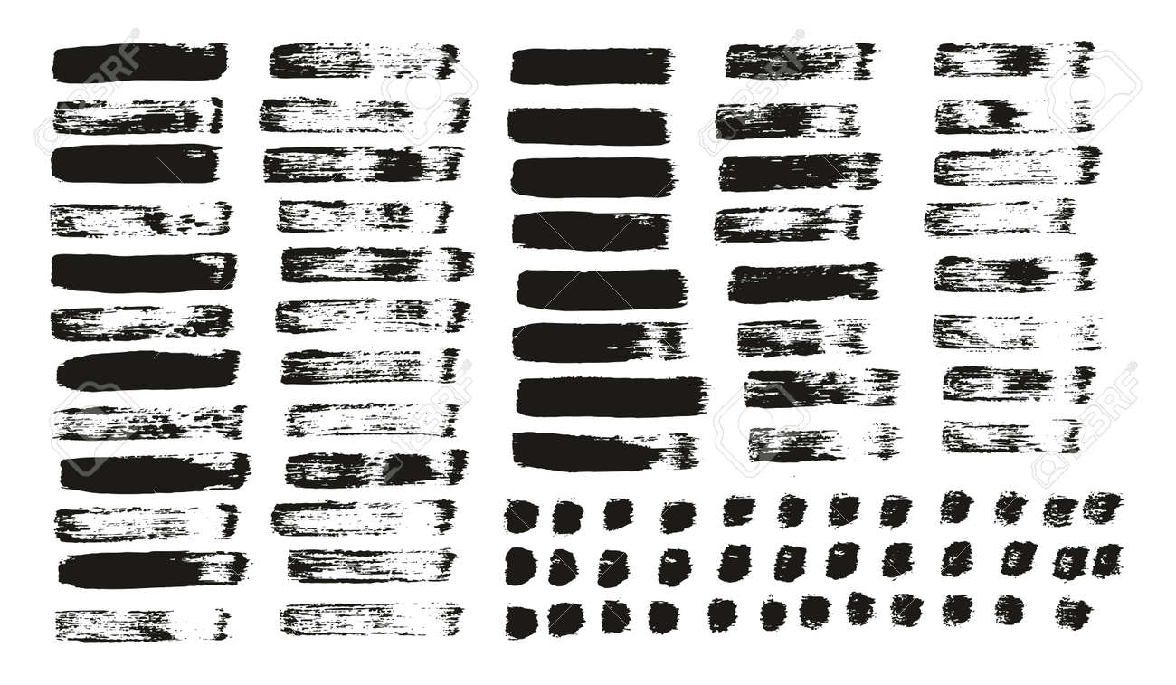 Flat Paint Brush Thin Straight Lines High Detail Abstract Vector Background Mix Set - 168359462