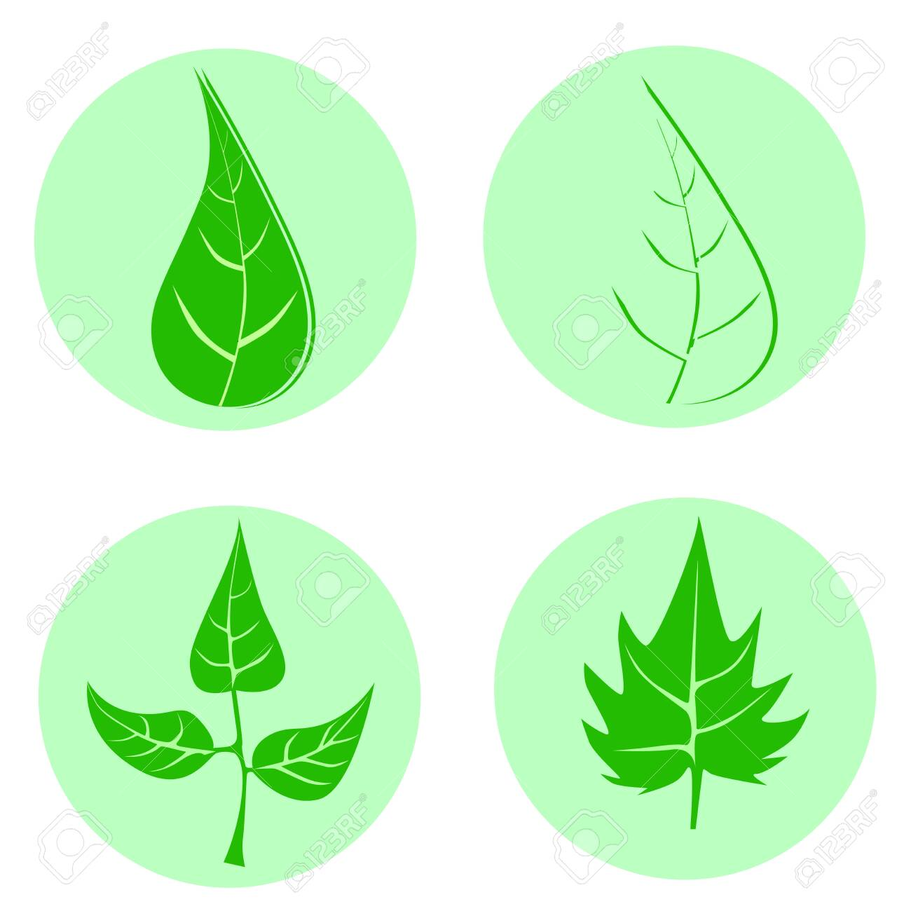 Set of green leaves design elements. This image is a vector illustration.Leaves icon - 140674492