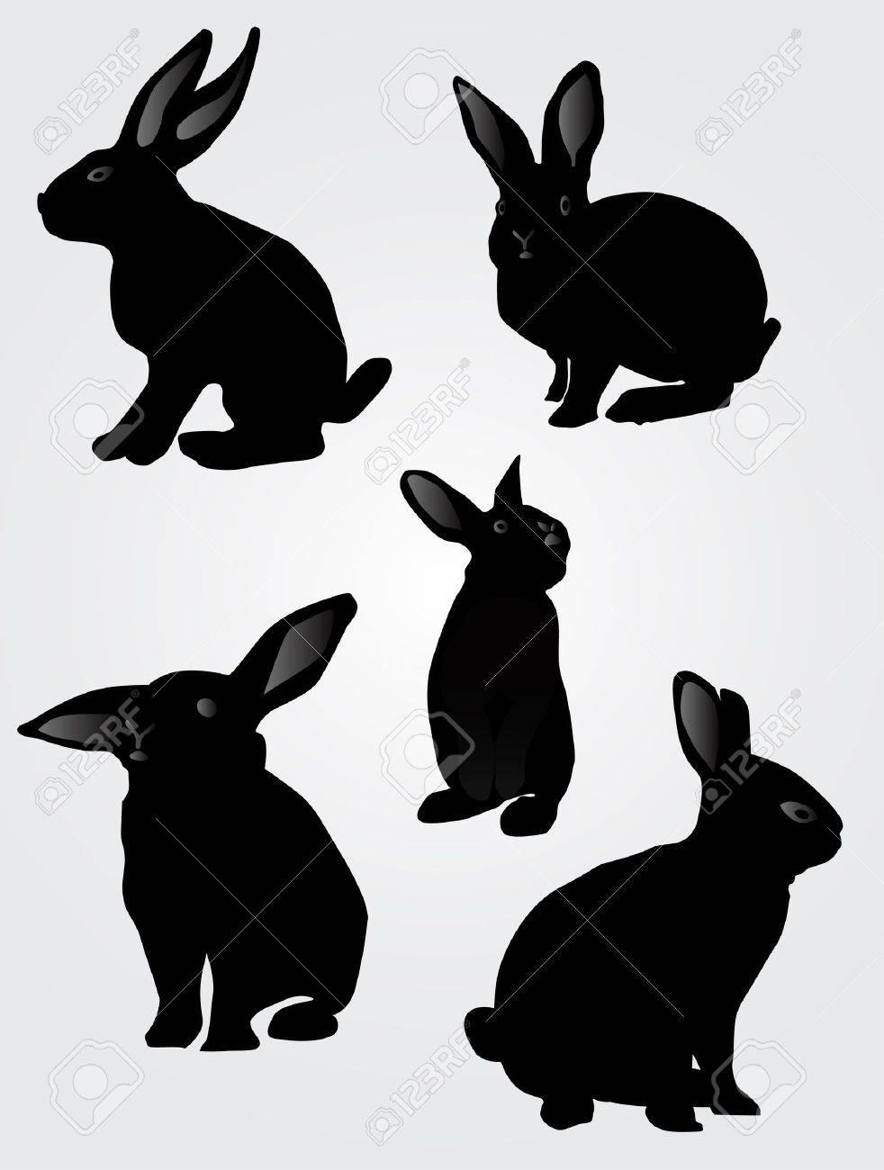 ウサギのシルエット、ベクトル イラスト ロイヤリティフリークリップ