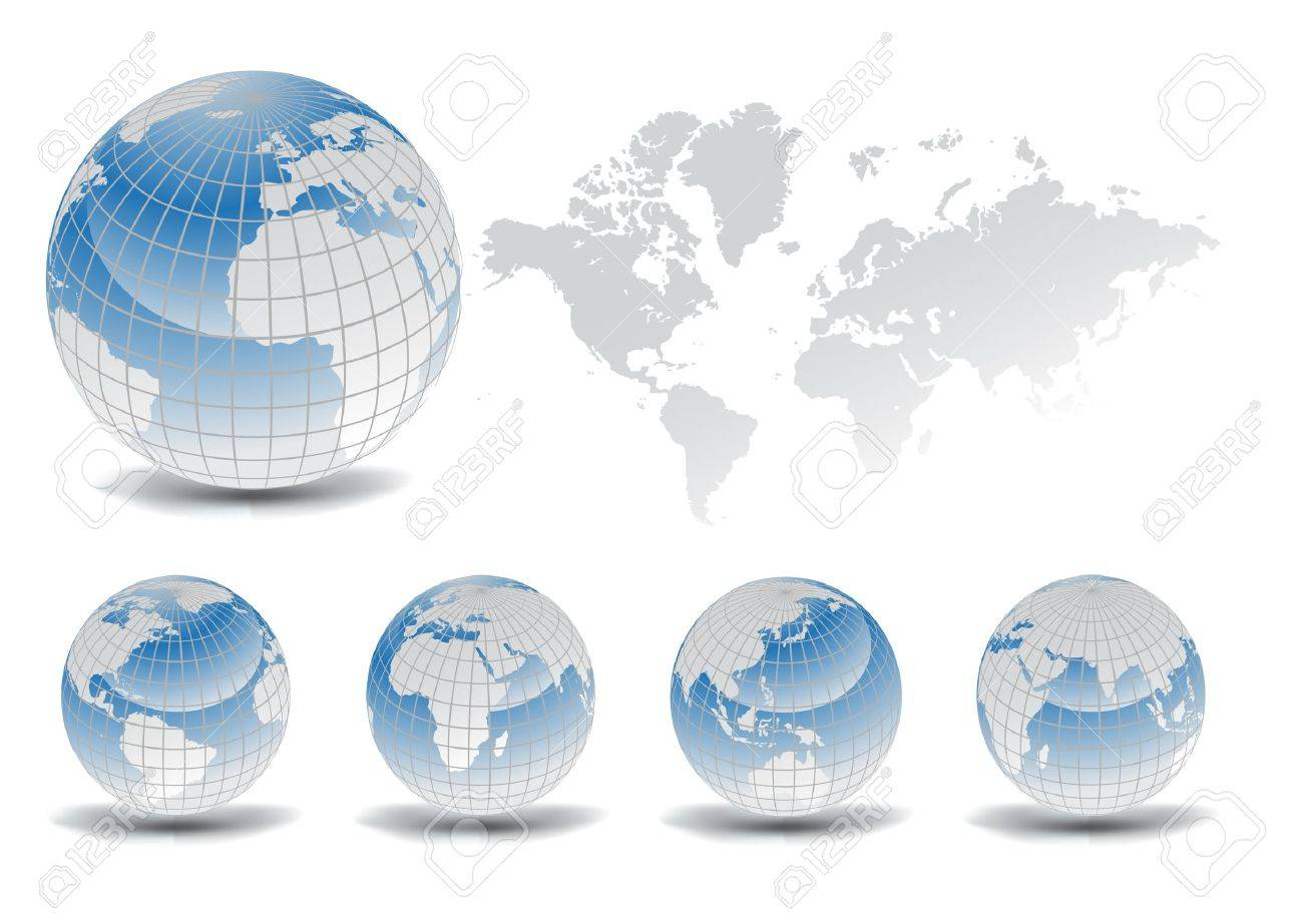 Full Earth Map.World Map With Earth Globes In White Background Part Of Full