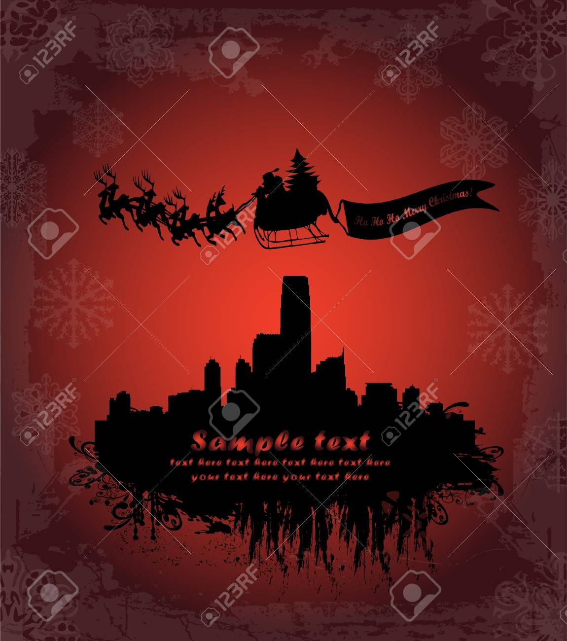 Urban holiday background with santa Stock Vector - 9686979