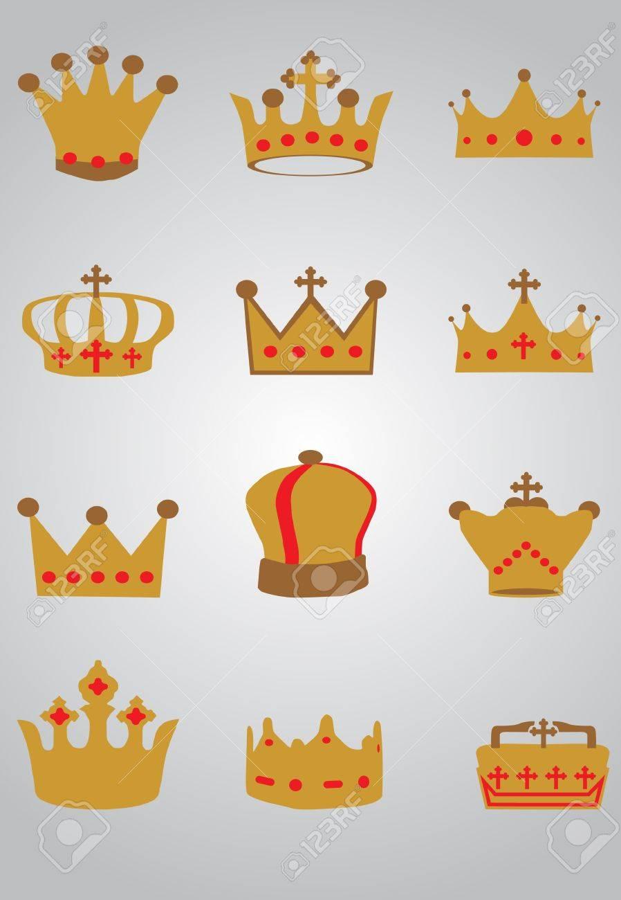 Crown set Stock Vector - 9433301