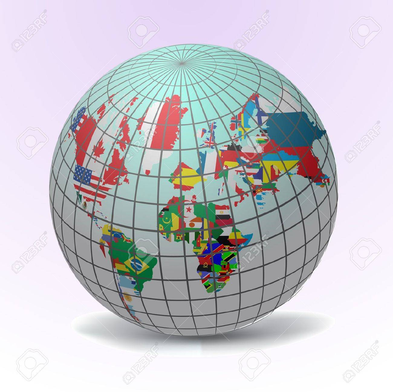 All flags in globe form, vecto illustration Stock Vector - 9686983