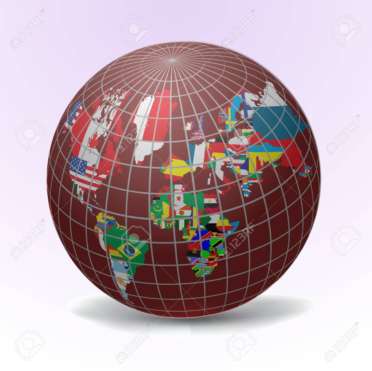 All flags in globe form, vecto illustration Stock Vector - 9686980