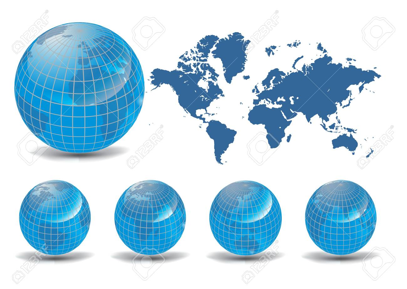 World map with Earth globes in white background (part of full set) Stock Vector - 9427790