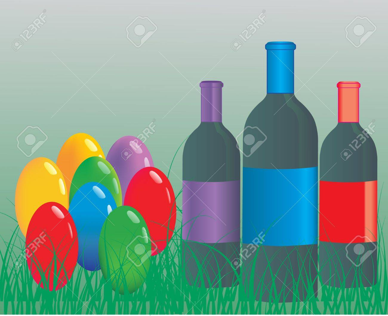 Easter eggs with wine bottle Stock Vector - 9433356