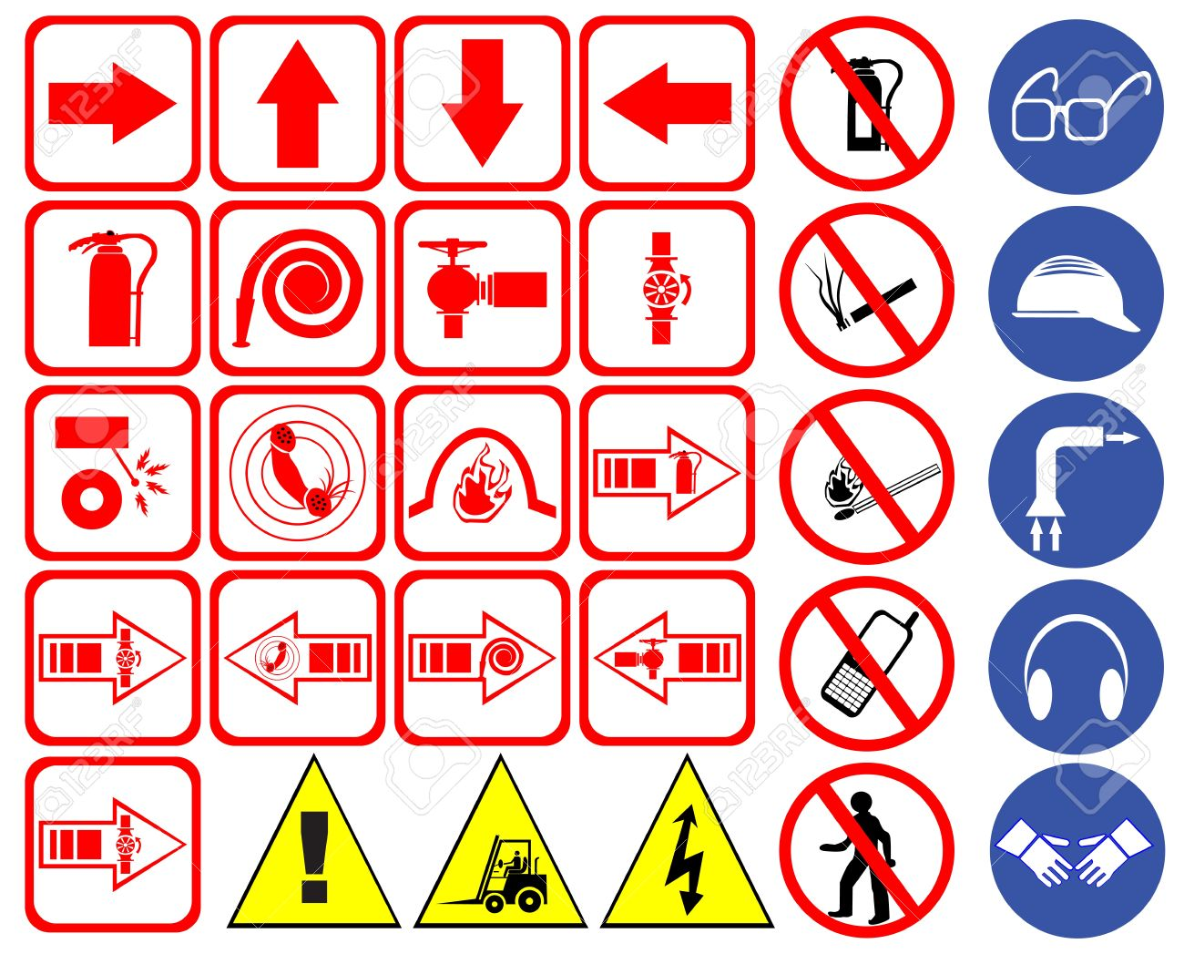 Gas Mask Signs Gas Mask Safety Signs Set