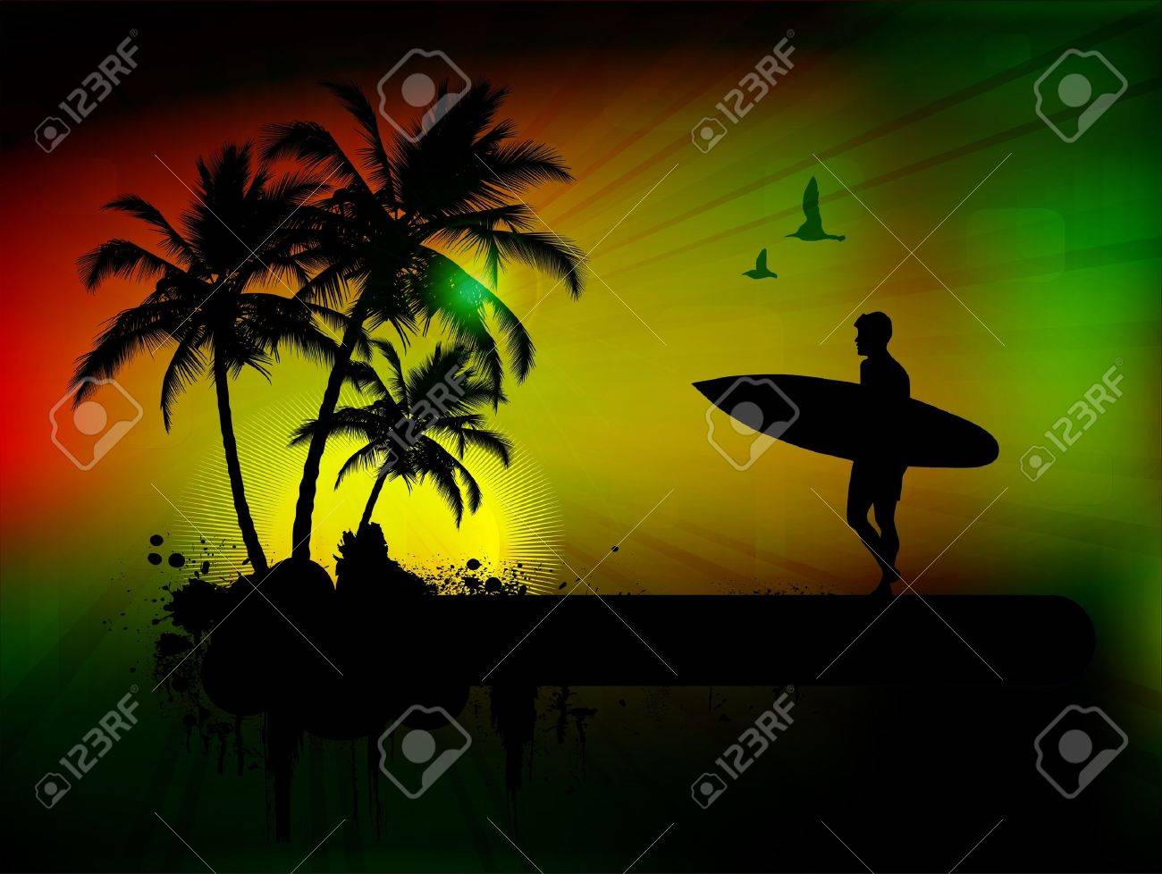 Tropical background with surfer in abstract background, vector illustration Stock Vector - 10842564
