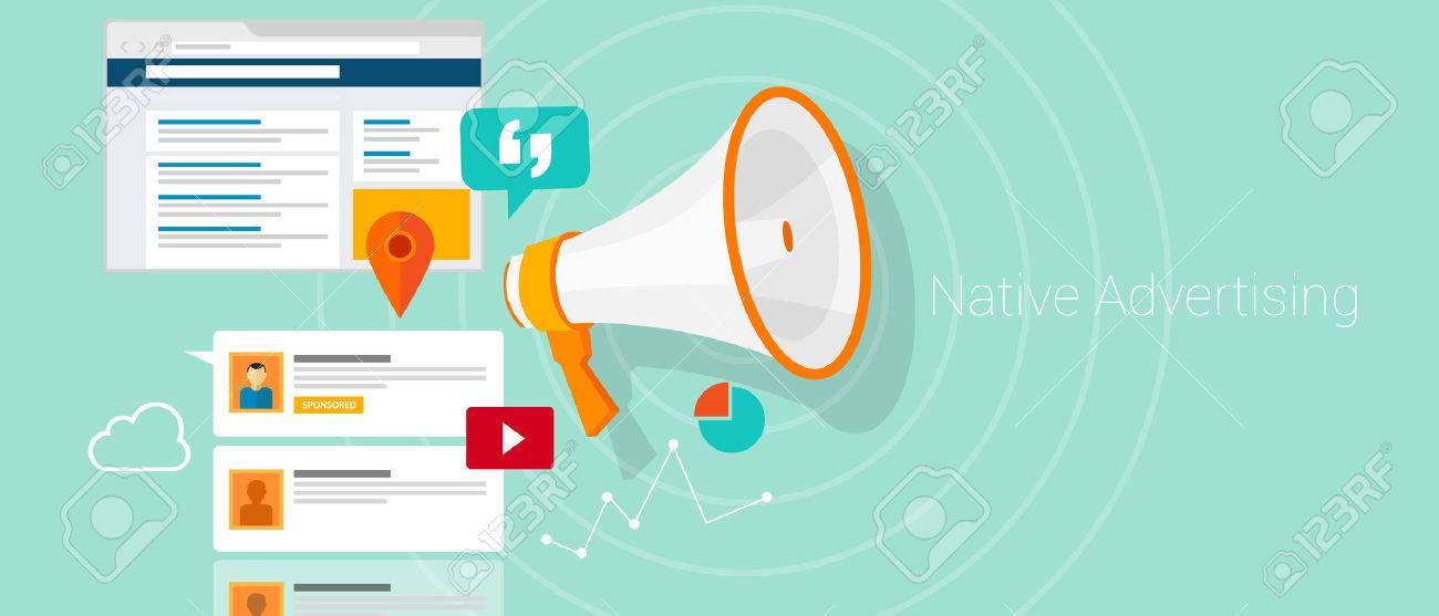Native social media content advertising marketing vector illustration - 38752667