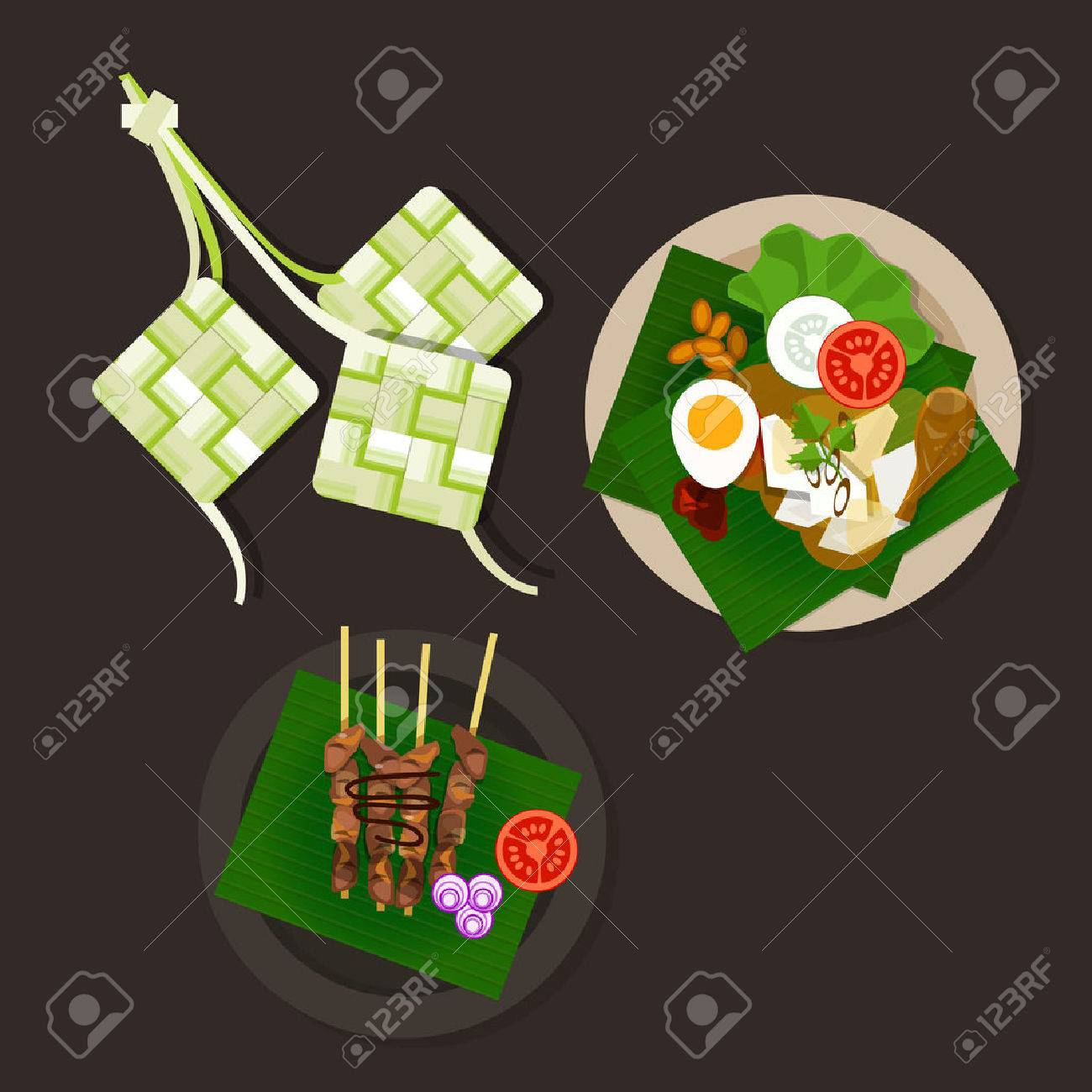 Lebaran Ketupat Idul Fitri Ied Food Sate Opor Ayam Vector Asian