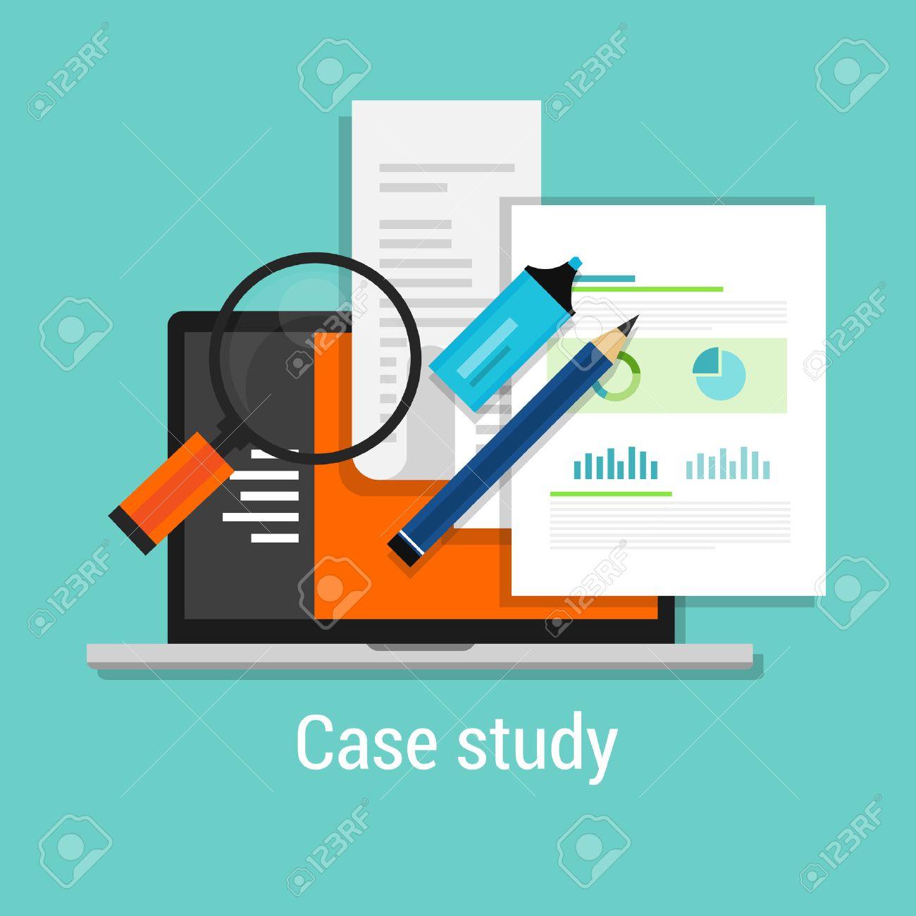 case study studies icon flat laptop magnifier learn analysis - 42754428