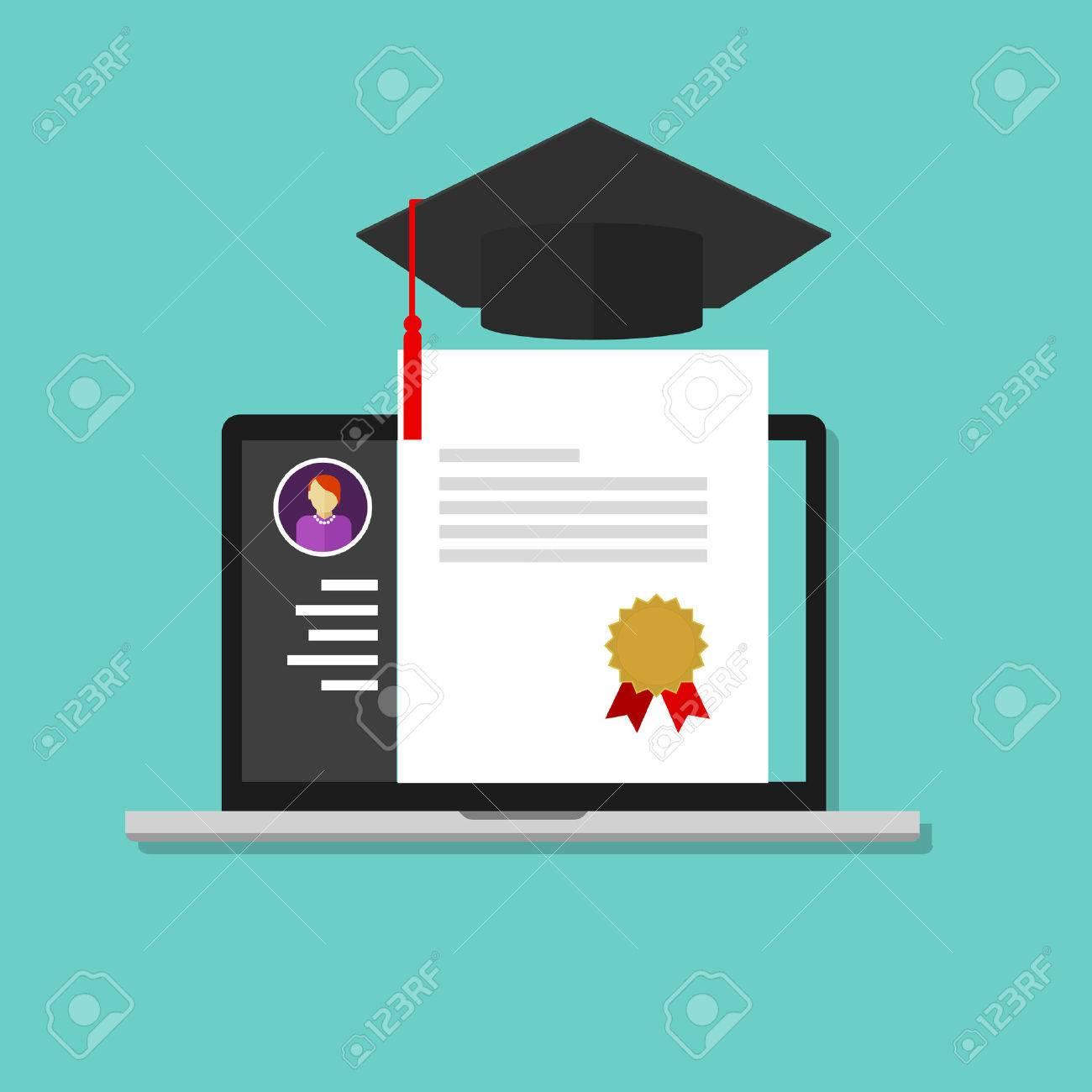 Online degree laptop education college school graduate certificate online degree laptop education college school graduate certificate stock vector 42754767 xflitez Images